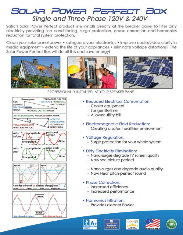 Solar Power Perfect Box filters dirty electricity and provides clean, reliable power.
